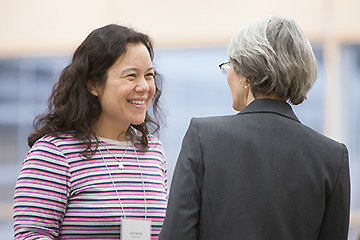 A preceptor chats with Experiential Education Director Mara Kieser